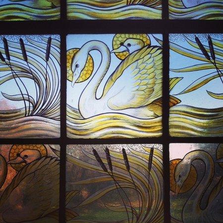 Wrea Head Hall : Stained glass window in lobby