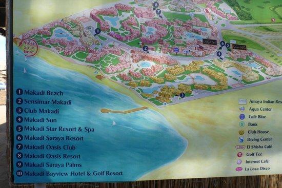 Iberotel Makadi Beach: östlicher Hotelteil der Makadibay, Lageplan