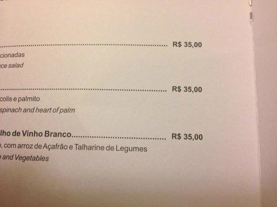 Tryp Sao Paulo Higienopolis Hotel: preço refeições no quarto