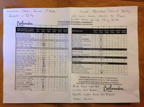 Belambra Clubs - Les Jardins de la Balme : sheet we had to fill out in the first 12 hours