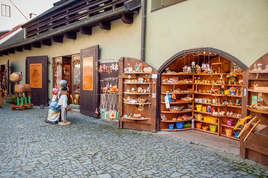 Historic Center of Cesky Krumlov: Souvenir shops Downtown Cesky Krumlov