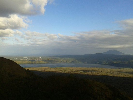 Masaya Volcano National Park : View of mombacho volcano,  masaya city and masaya lagoon, from crater San Fernando the highest p