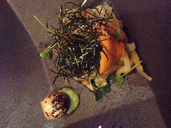 Ame : Lisa's staff meal-cuttlefish, uni & quail egg-WOW
