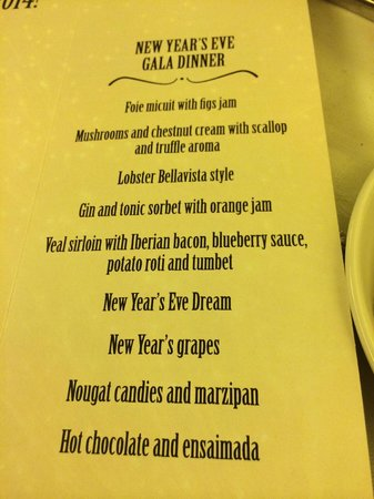 Hotel Palma Bellver By Melia : New Years Eve Menu