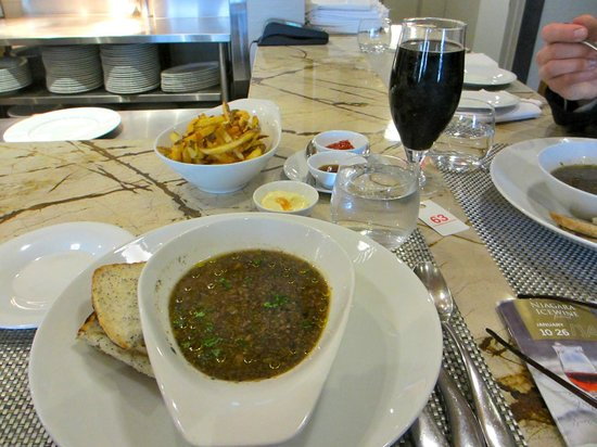 Treadwell: Mushroom soup, Rosemary Fries, good ole Stout beer!
