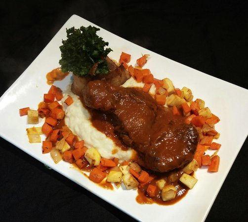 The Tasting Room At Gendron Catering: Osso Buco with Potato, Celery Root Puree, Ginger Carrots
