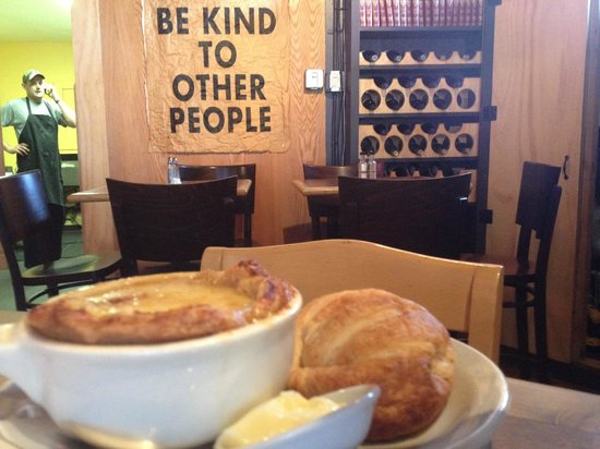 Speedtrap Bistro: French Onion Soup, with butter croissant + extra butter