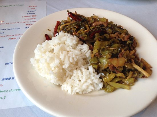 China Fortune: Chinese mustard greens with chilies and pork