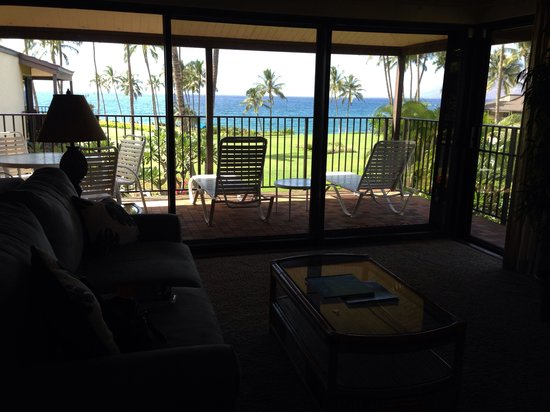 Wailea Elua Village: Ocean view from the living room #1802