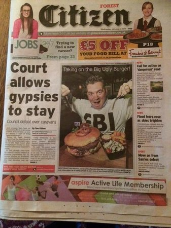 "The Farmers Boy Pub and Restaurant: Front Page of the local paper The Citizen ""The Big UGLY Burger"""