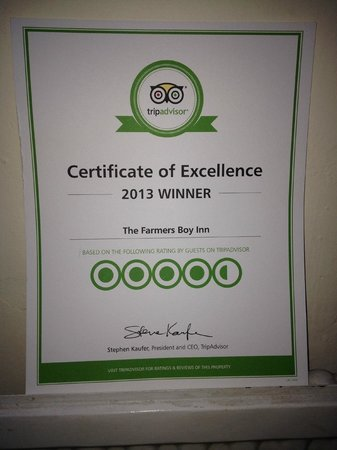 The Farmers Boy Pub and Restaurant : Cert of Excellence Trip Adviser