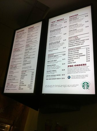 White Oaks Conference Resort & Spa: Menu at Starbucks in the Fitness and Racquet centre