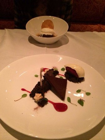 Sweet Basil : Desserts: Hot sticky toffee pudding cake (far) and dark chocolate brownie (with goat cheese ice