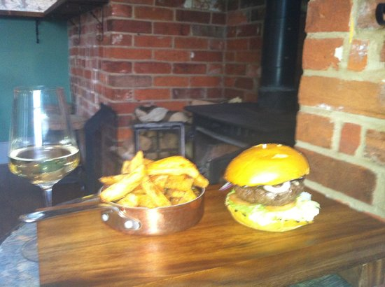 Rose & Crown: A must to try Venison and Stilton burger with the best chips