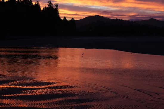 Siletz Bay Lodge: Sunrise of Siletz Bay viewed from the beach