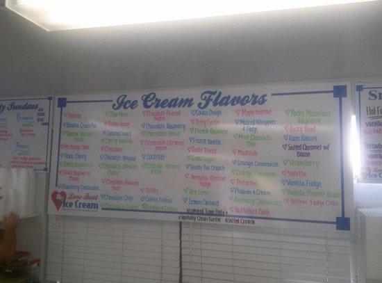 Love Boat Homemade ice Cream: Menu