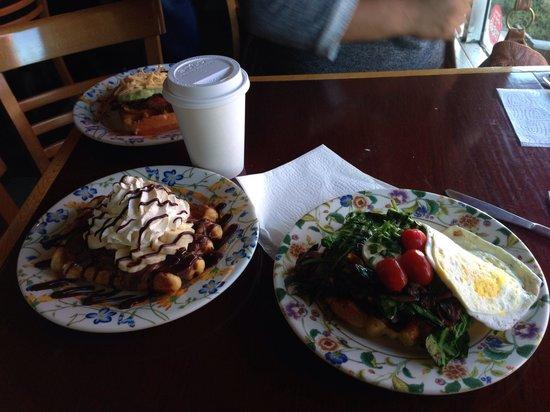 The Waffle Window : Farm fresh, Nutella and banana, bacon jalapeño!