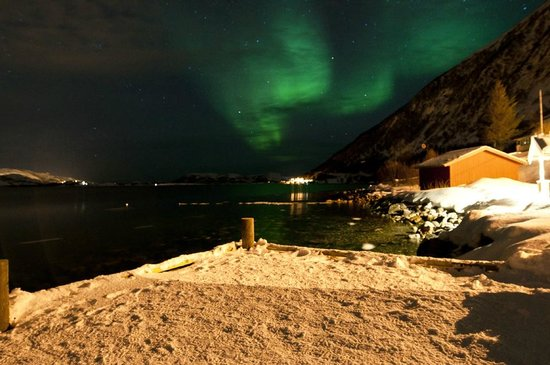 Lauklines Kystferie: The Northern lights (stood on our Jetty)