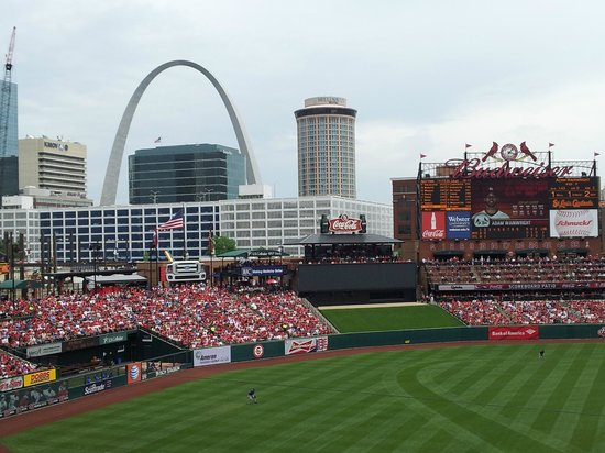Busch Stadium: The view from our Seats at our first Cardinal Game, wow