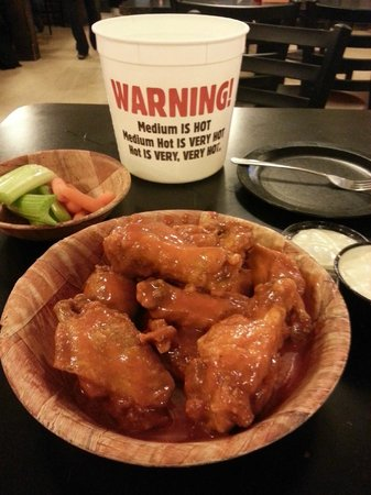 Duffs: Ten hot wings with the ubiquitous warning that they're really hot.