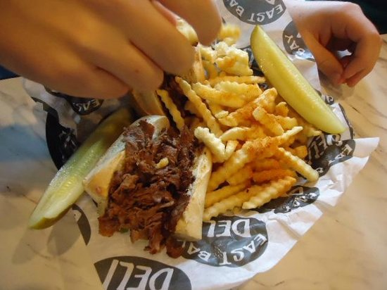 Philly Cheese steak but hold the cheese @ East Bay Deli in Charleston SC