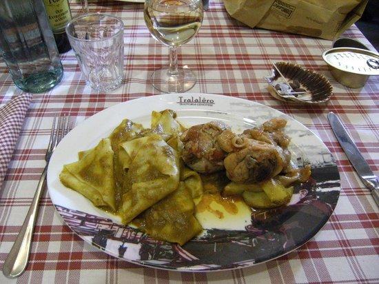 Tralalero : piatto unico pollo alla cacciatora e lasagnette al pesto