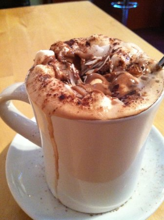 Java Coffee Shop: Almond hot chocolate with coconut
