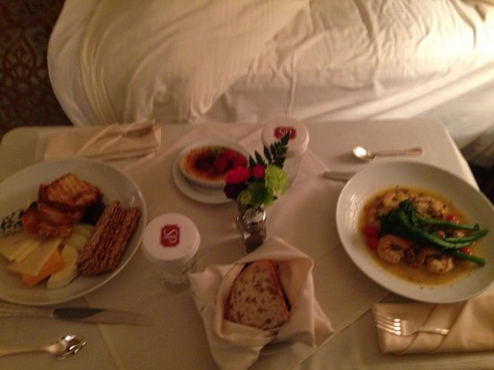 The Saint Paul Hotel: Room service dinner of artisan cheese plate, shrimp scampi, and crème brûlée. Delicious, but exp