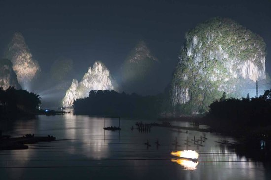 Impression Sanjie Liu (Evening Showtime) : Karst Mountains are the Backdrop for Impression Sanjie Liu performance
