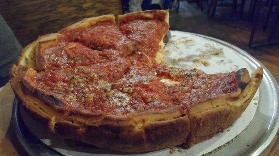 Pizza Papalis: Medium deep dish pizza.
