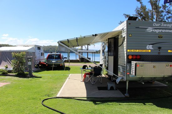 BIG4 Bungalow Park on Burrill Lake : View past my Van to Burrill Lake