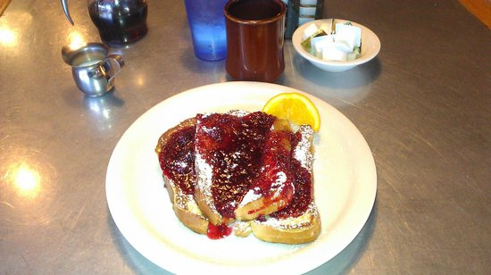 Sunshine Cafe: Cream cheese stuffed french toast a la raspberry sauce.