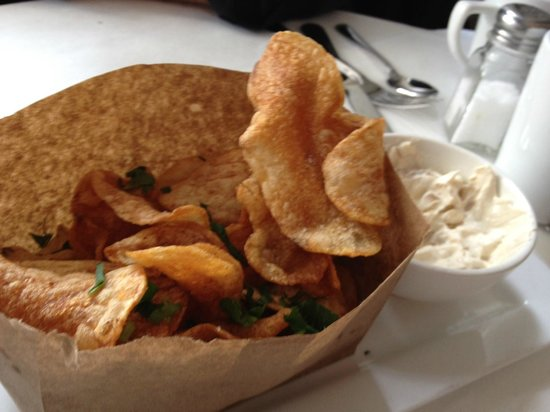 Good: Homemade chips with onion dip