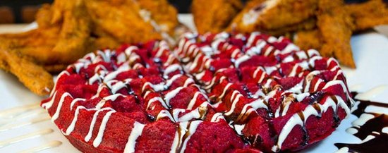 Bay Bay's Chicken & Waffles: Red Velver Waffles & Chicken