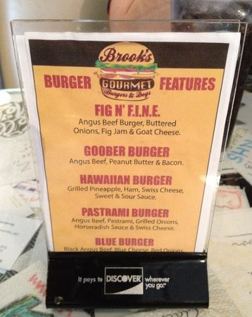 Brooks Gourmet Burgers & Dogs: Brook's:  Home Of The Goober Burger!  GET THIS!! And Throw The Fried Egg On Top!  AWESOME!!