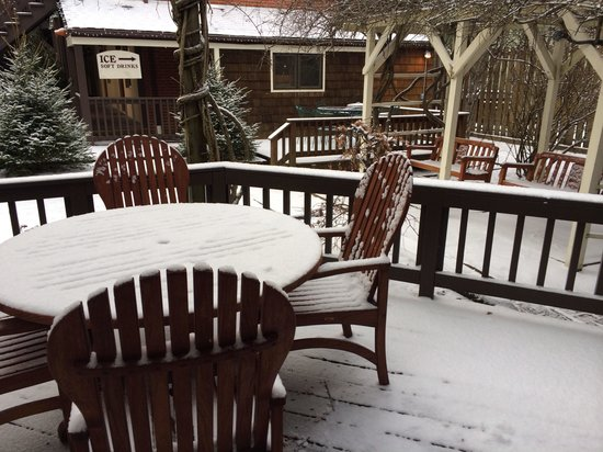 Ridgeway Inn: Patio outside of Lavender Cottage during snow.