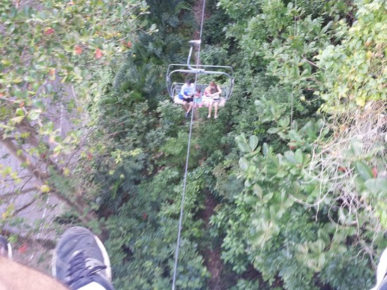 Rainforest Bobsled Jamaica at Mystic Mountain: View of return chair lift