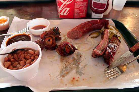 Hard Eight BBQ - Sausage, Ribs, Chicken Poppers and Beans