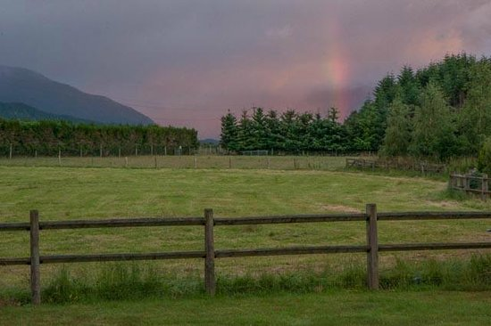 rainbow across the pasture at Blue Mountain Cottages