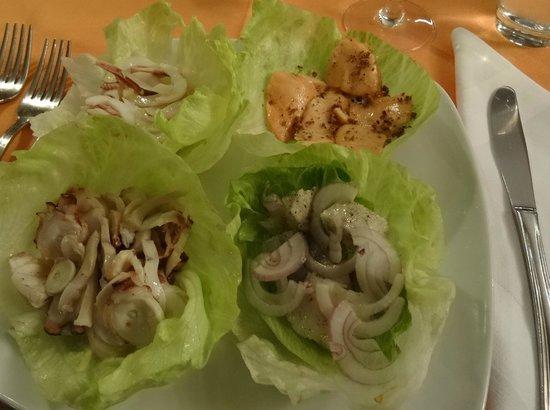 Profumo di ristorante italiano: Variationen von Meeresfrüchten als Vorspeise