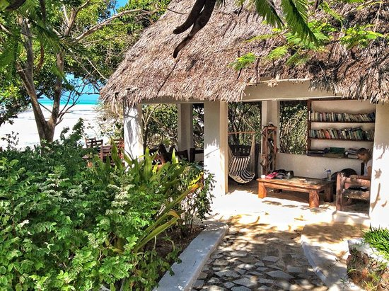 Red Monkey Beach Lodge: The 'chill hut' has a hundred swap and share books and comfy sofas to relax on