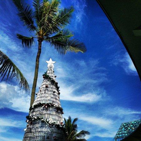 Le Meridien Bali Jimbaran: recycled bottles make up the Christmas tree