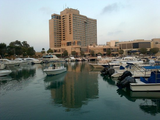InterContinental Abu Dhabi: view of hotel from marina