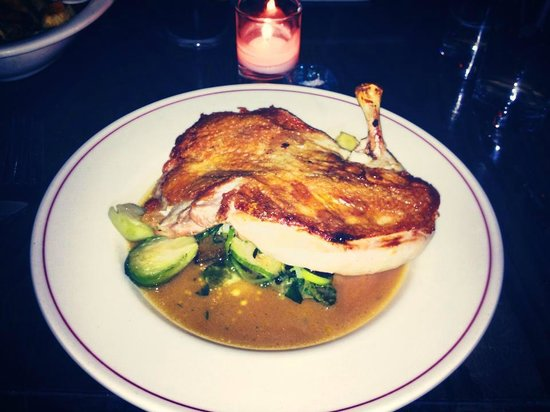 The Little Owl : Half crispy skinned chicken with brussel sprouts and creamed mash.