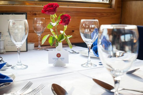Canal Boat Cruises of Riley Green: Restaurant Boat Table