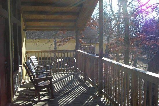 Golden Arrow Resort: View from the deck of 'E' chalet.