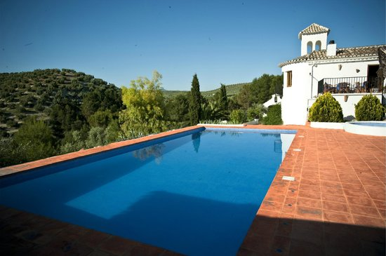 Cortijo Las Salinas: Beautiful large pool overlooking mountains covered with olive groves