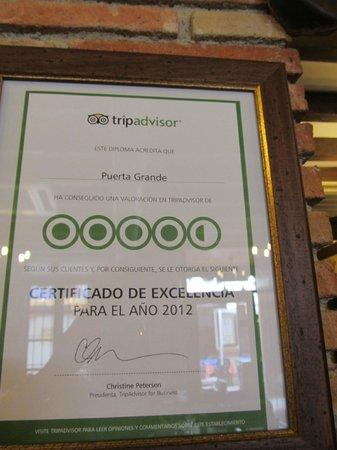 Puerta Grande Ronda: A DISTINÇÃO DO TRIPADVISOR