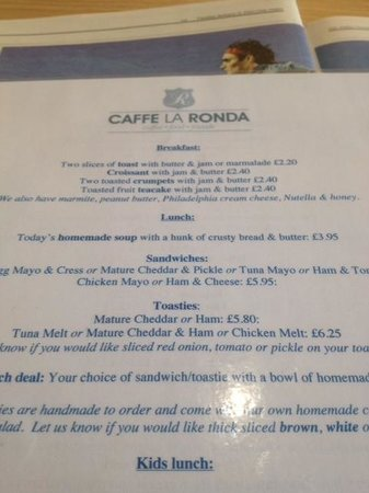 Caffe la Ronda: Copy of current menu and prices - over priced
