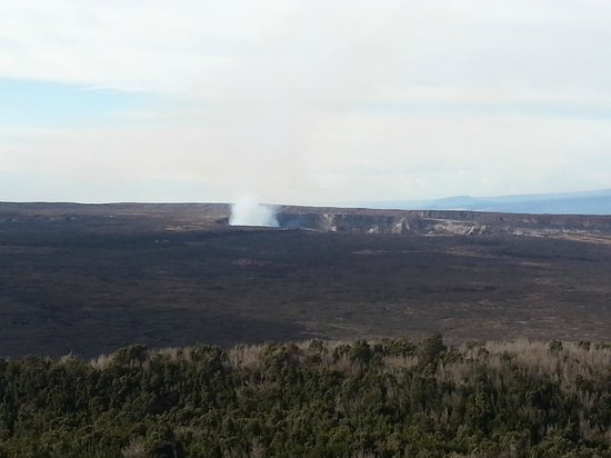 Volcano House: View of the Kilauea crater from the Volcanio House